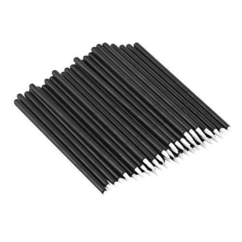 50pcs Brosse jetable de Eyeliner de fibre noire dans un sac en plastique, outils de maquillage professionnels et pinceaux d'eye-liner pinceaux cométiques d'oeil