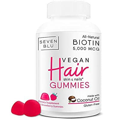 Hair Vitamins for Faster Hair Growth | VEGAN All Natural | with Coconut Oil | Extra Strength Biotin 5000 mcg - Hair Skin and Nails Vitamins for Women - Sugar Bear Hair Growth Supplements - Made in USA