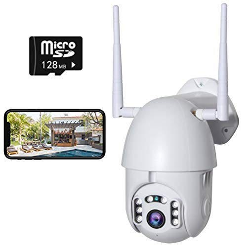 ADGAI Überwachungskamera Outdoor Wireless 1080P WiFi Überwachungskameras Web Remote Monitoring 4-Fach Zoom Wasserdicht Monitor-Position, Stütz-Max 128 GB SD-Karte,Uk,132G Card