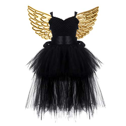 Amosfun Kinder Halloween Kostüm Tutu Schwarz Kleid mit Golden Engelsflügel Party Kostüm Requisiten
