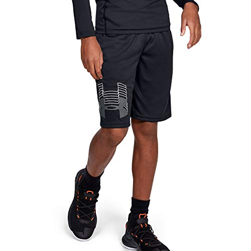 Under Armour Boys' Prototype Logo Shorts , Black (003)/Pitch Gray , Youth X-Large