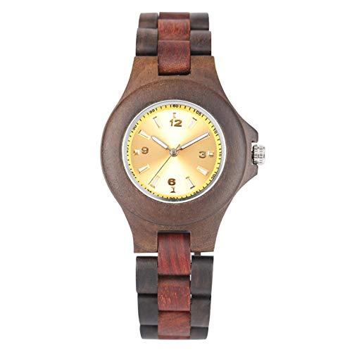 Relojes de Madera para Mujer,EsferaAmarilla, Correa de Madera Retro, Relojes de Pulsera para Mujer, SoloReloj