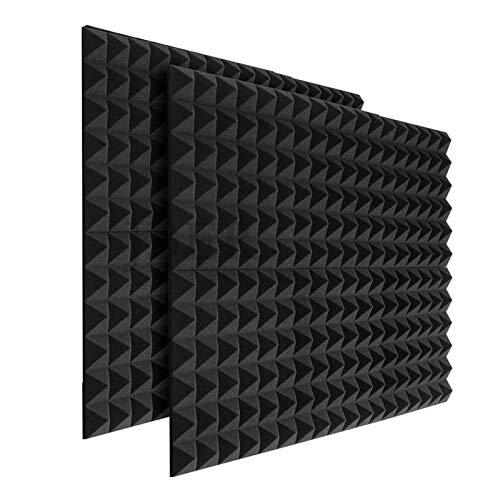 24 x Platten Akustikschaumstoff Noppenschaumstoff Akustik Schaumstoff Akustische Schalldämmplatten zur effektiven Akustik Dämmung für Studio Hause ca. 25x25x5cm (Schwarz 1)