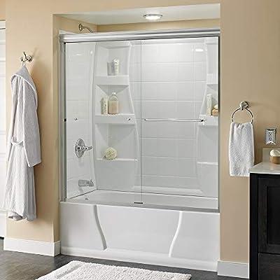 "Delta Shower Doors SD3927401 Classic Semi-Frameless Traditional Sliding Bathtub 60"" x58-1/8, Chrome Track"