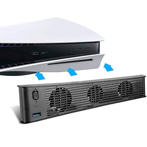 PS5用冷却ファン、クーリングファン 背面 排気 静音 USBポート 温度制御 USB外部クーラー3ファン デジタルエディション 両対応 NB-003B