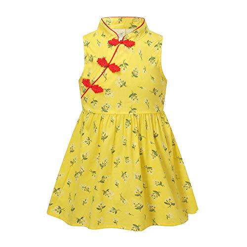 Janly Clearance Sale Vestido de niña para niñas de 0 a 10 años, vestido de princesa de estilo chino, con flores florales, Cheongsam, vestido de princesa, amarillo, 5-6 años