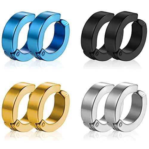 Liuxn 8 Pezzi Non-Piercing Orecchini Orecchio Clip Finti Anelli d'Orecchio per Uomini e Donne, in Acciaio Inox, 4 Colori