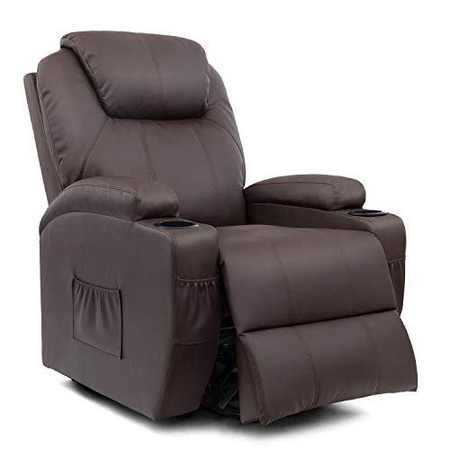 Homall VC-LR84LMP8 Power Lift Recliner Chair with Massage Single Living Room Huge Thick Padded Heating Function Sofa Seat, Brown