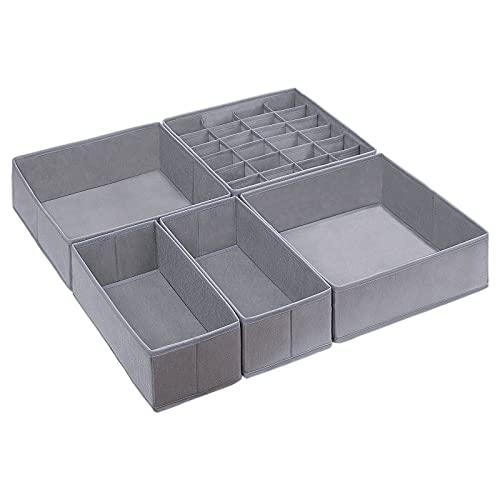 DIMJ 5 Pack Drawer Organisers, Foldable Underwear Storage Box, Fabric Wardrobe Organiser, Drawer Dividers Storage Cubes for Clothes, Socks, Underwear, Ties, Bra, Scarves, Cosmetics, Grey (Grey)