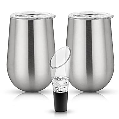 Stainless Steel Wine Glasses - Stemless with Secure Lids and Bonus Aerator - Set Of 2 - 12 oz Metal Drinking Tumblers - Unbreakable, Shatterproof, BPA Free, Eco Friendly