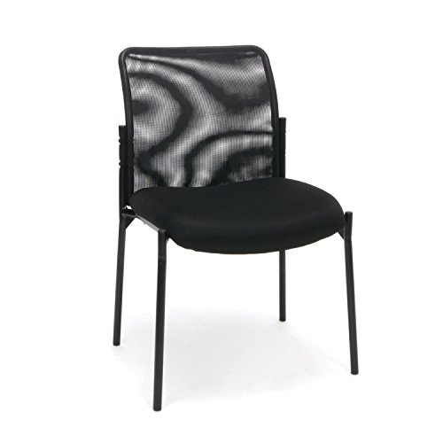 OFM ESS Collection Mesh Back Upholstered Armless Side Chair, in Black (ESS-8000)