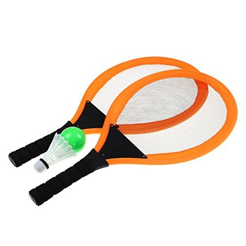 Uoeo Kinder Orange Soft Tennis Schläger Set Soft Tennis & Badminton Set für Outdoor Garten Spiel Kinder Spielzeug, mit Gratis Ocean Ball, Badminton