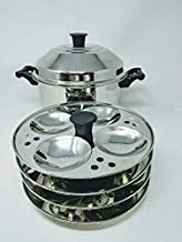 Tabakh 4-Rack Stand & Multi Purpose Plate Idli Cooker, Makes 16, Stainless Steel