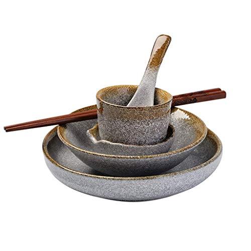 DGHJK Juego de Cubiertos de cerámica de Estilo japonés, Plato de Ensalada de gres Retro Creativo, Plato de Fruta, Cuchara para Sopa, Taza de té, vajilla, vajilla