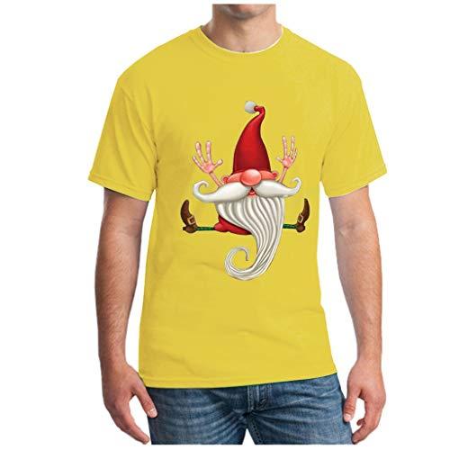 Hniunew Weihnachten GNOME Weihnachtsmann Cartoon Drucken Herren T-Shirt Hemdshirt Kurzarm T-Shirts Karneval Fasching Tee T-Shirt Ausgefallene Bunte Hemden Oberteil Top
