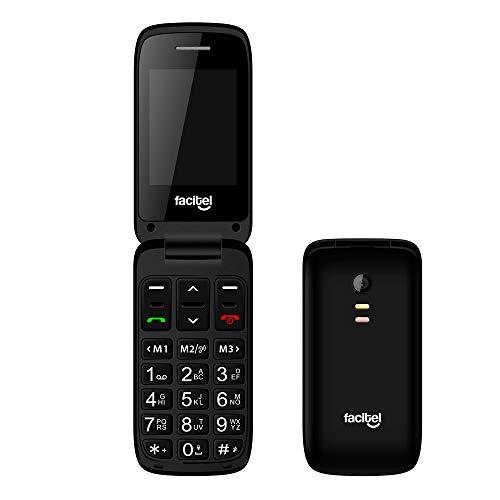 Facitel FS23 - Telefonos moviles Libres de facil Uso con Tapa, Compatible con audifonos,Amplificador de Sonido, Boton SOS (Negro)