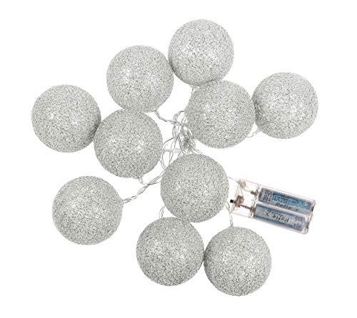Huis en decoratie LED-lichtsnoer met 10 katoenen ballen glittereffect bal slinger 10 LED's batterijvoeding sfeerlicht modern ca. 150 cm zilver