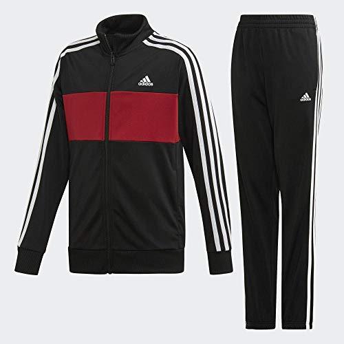 adidas YB TS Tiberio, Suits Bambino, Black/Active Maroon/White, 11-12A