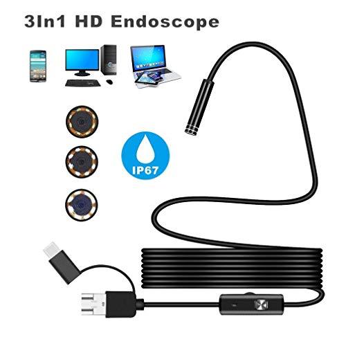 Android 5.5MM Micro USB 3-in-1 Wasserdicht Computer Endoskop mit 6pcs Justierbaren Wasserdichten LED-Lichtern,Typ-c USB HD Endoskop Kamera für Android|Windows 2000|XP|Vista|Windows 7/8/10|Mac OS