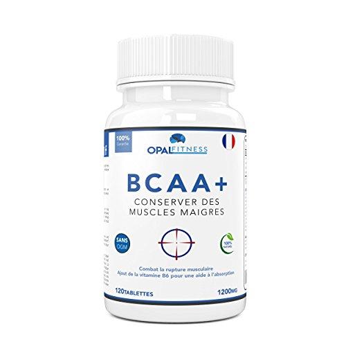 BCAA | Comprimés de BCAA | Acides aminés à chaîne ramifiée 1200mg | BCAA+ avec ajout de vitamine B6 pour améliorer l'absorption | Leucine, Isoleucine, Valine | Opal Fitness