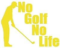 カッティングステッカー No Golf No Life (ゴルフ)・3 約150mmX約195mm イエロー 黄