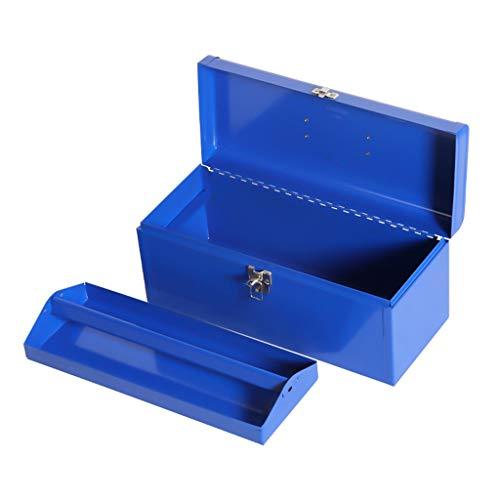 Caja de herramientas de servicio Herramienta de metal caja de acero Flat-Top Caja de herramientas con caja de herramientas portátil extraíble bandeja azul de piezas metálicas de la herramienta organiz