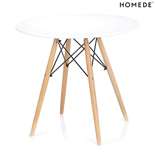 Homede Esszimmertisch Ø 60 cm MDF Platte Holz rund weiß Tebe