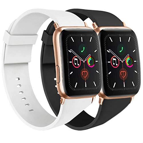 AK Armband, kompatibel mit Apple Watch 44 mm, 42 mm, 38 mm, 40 mm, Sport-Armband aus Silikon für Damen und Herren, für iWatch-Serien 5, 4, 3, 2, 1 38/40mm M/L Nero + Bianco