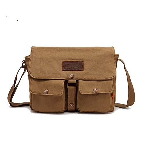 Mens Canvas Leather Messenger Bags Briefcase Crossbody Satchel Shoulder School Bag Travel Hiking Camping Bag ipad Bag Book Bag Satchel School Bag (9053 Khaki)