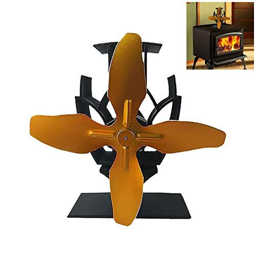 Sarplle Kaminventilator 4 Lüfter Blade Upgrade-Technologie Wärmebetriebene Ventilator Ofenventilator mit Metallgriff für Holzöfen KaminÖfen Stromloser Öfen