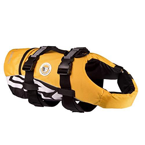 EzyDog DFD Schwimmweste Hund - Hundeschwimmweste - Schwimmwesten für Hunde - Größenverstellbar mit Griff und Reflektoren (L, Gelb)