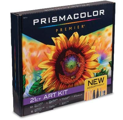 Prismacolor Premier Art Kit, Colored Pencils, Watercolor Pencils, Blender Pencil, Dual-Ended Art Markers, Mini Sharpener, 21 Pieces