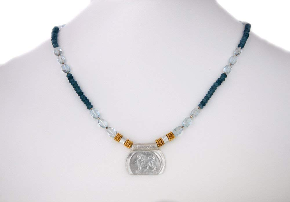 Egyptian Jewelry Ranking TOP2 with Fine Silver Pendant Blue Aquam Financial sales sale Apatite and