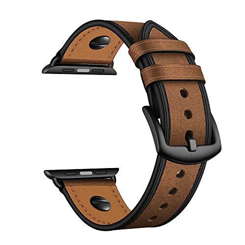 YoChYi Compatible con Apple Watch Series 6 SE 5 4 3 2 1 38mm 40mm 42mm 44mm Correa, Cuero Genuino Clásico con Remache de una Palabra Banda de Repuesto (CH Brown, 4244mm)