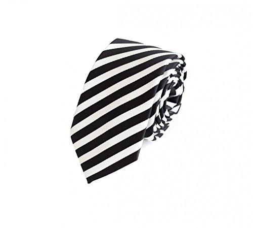 Schmale Krawatte von Fabio Farini gestreift in schwarz weiss