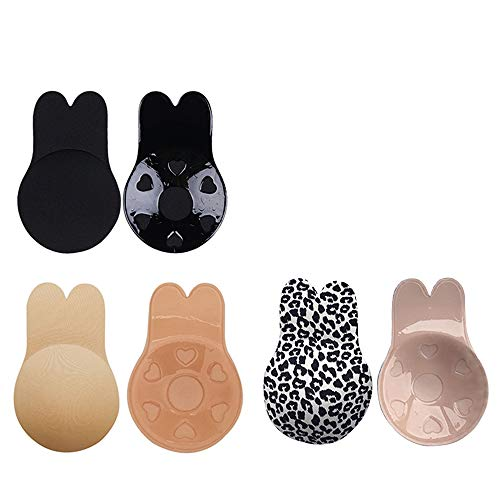 Johiux Stick On Bra Invisible Backless Bra Strapless Adhesive Invisible Bra and Lift Nipplecovers Rabbit Bra Reusable Silicone Sticky Bra