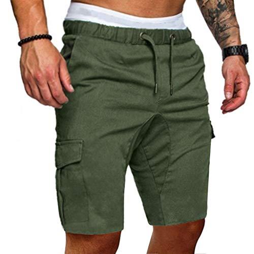 Sommer Kurze Hose für Herren,Skxinn Männer Kordelzug Sports Shorts Sommer Casual Bermudas Strand Jogging Hosen Vintage Taschen Hosen S-2XL Ausverkauf(Armeegrün,X-Large)