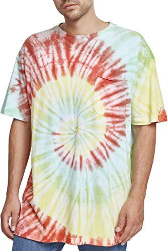 Urban Classics Spiral Tie Dye Pocket tee Camiseta, Multicolor (Rojo/Verde/Amarillo 01455), S para Hombre