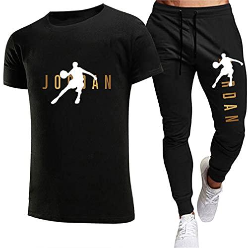 Tuta Intera per Uomo, T-Shirt da Jogging Uomo Jordan E Pantaloni Moda 2 Pezzi Tuta Estiva Slim S-2xl black2-L