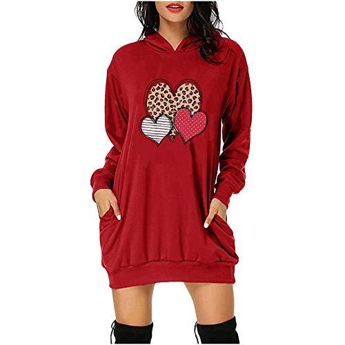 Mujer Sudadera de Entrenamiento Larga Sudadera con Capucha Deportiva Manga Larga Hoodie Casual Camisa de Entrenamiento Regalos Impresos con Love y Amor, Ropa para Parejas San Valentín