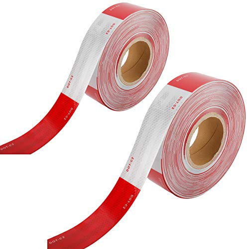Toolly Reflective Safety Tape, 2inch x 200Feet DOT-C2 Waterproof Red and White Adhesive conspicuity tape for trailer, outdoor, cars, trucks