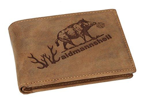 Greenbury Leder-Geldbeutel mit Waidmannsheil Motiv I Geldbörse mit Jagd Motiv I Herren-Portmonne für Jäger Die Geschenkidee für Jäger