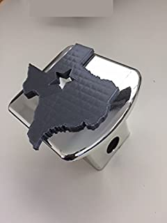 LicensePlateFreak Texas in 3D - 2 inch Trailer Hitch Cover Chrome with Grey - Love Texans