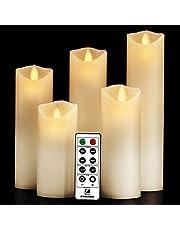 Comenzar alevsiz mumlar, pille çalışır, 9 adet (Y 10,2 cm, 12,7 cm x D 7,6 cm), su geçirmez, iç ve dış mekanlar için, uzaktan kumandalı LED mumlar, Comenzar (kehribar sarısı)