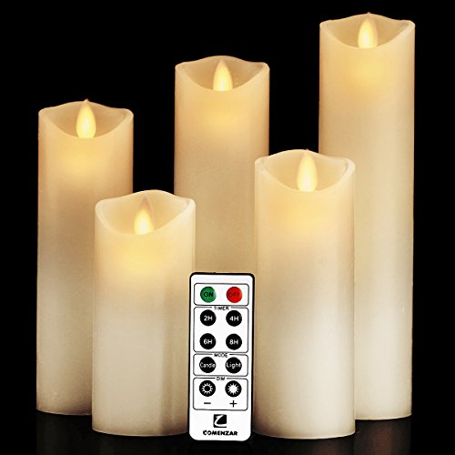 "comenzar Flameless Candles, Battery Candles Set (H 5"" 6"" 7"" 8"" 9"" x D 2.2"") Real Wax Pillar Led Candles with Remote Timer (Ivory White)"
