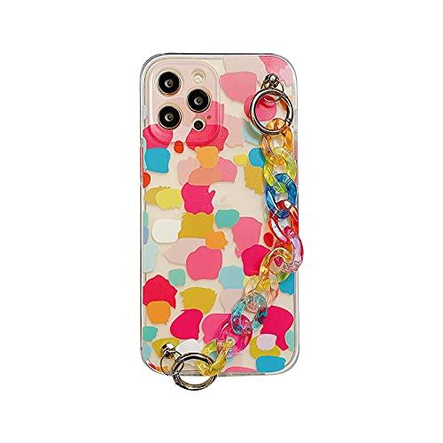 Funda divertida para iPhone 12 Mini 7 8 Plus X XR 11 Pro XS Max SE 2020 colorida cadena muñeca correa suave cubierta -WY672-1-For-iphone7