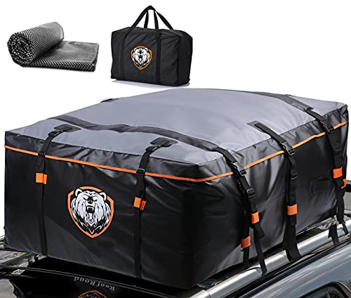 Waterproof 19 Cubic Feet Rooftop Cargo Carrier PRO - Heavy Duty Roof Top Luggage Storage Bag with Anti-slip Mat + 10 Reinforced Straps & Door Hooks - Perfect for Car, Truck, SUV With Without Rack