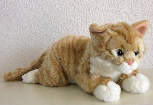 liegende rotgetigerte Katze, 35 cm Plüschkatze Stoffkatze