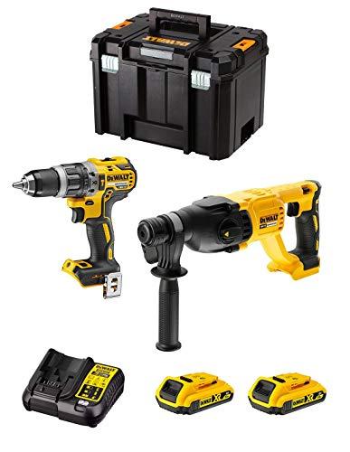 DeWALT Kit DWK209 (Taladro Percutor DCD796 + Martillo Perforador DCH133 + 2 Baterías de 2,0 Ah + Cargador + TSTAK VI)