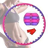 Wuudi Hula Hoop - Aro de hula hoop para pérdida de peso y masaje, con banda de resistencia, diseño desmontable de 8 nudos